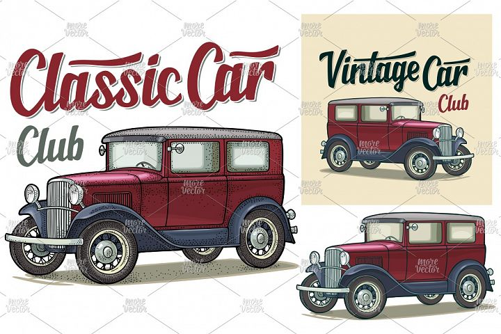Retro sedan. Classic Car Club lettering. engraving, flat