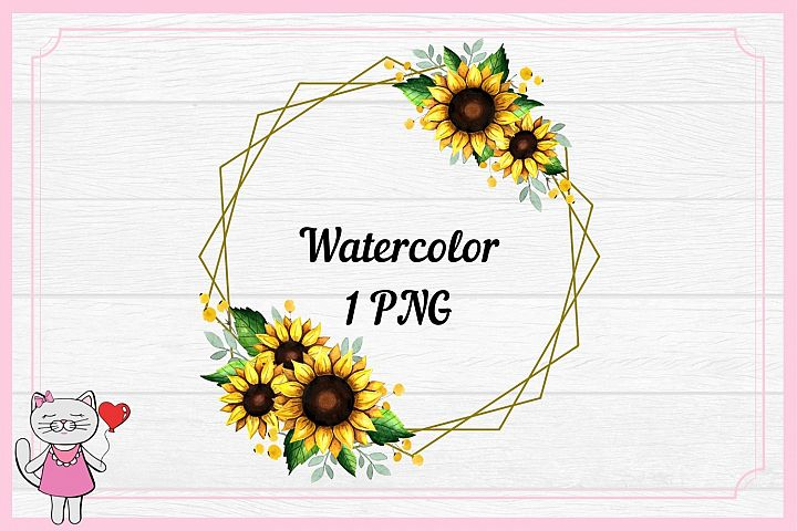 Sunflower Frames, Yellow floral frames Watercolor clipart