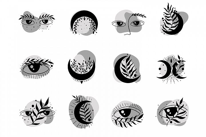 Moon and eyes black and white icon