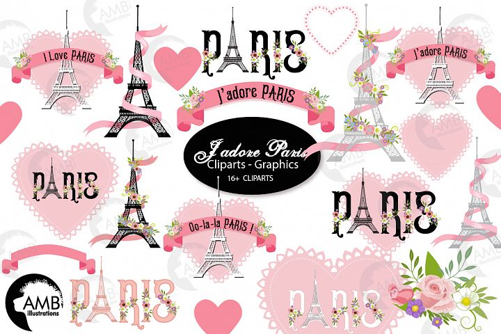 I love Paris graphics, clipart, illustration AMB-2154
