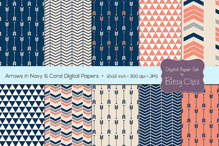 Arrows in Navy and Coral Digital Paper Set Scrapbook Paper Arrow Scrapbook Paper