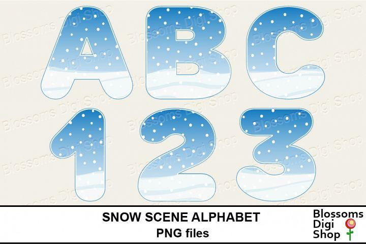 Snow Scene Alphabet Clipart