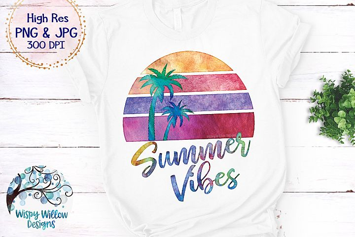 Summer Vibes Watercolor PNG   Sublimation   Clipart
