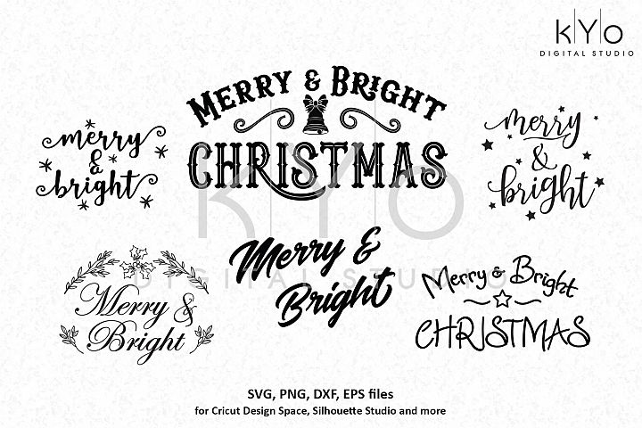 Christmas svg bundle, Merry and Bright svg