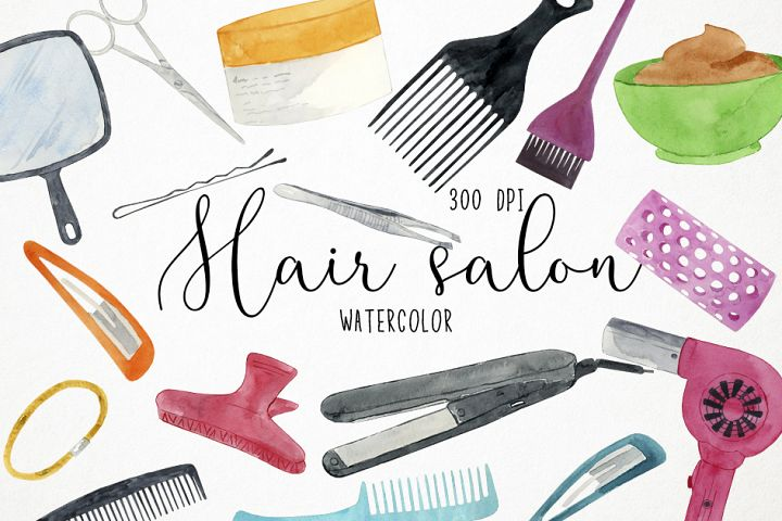 Watercolor Hair Salon Clipart, Beauty Salon Clipart