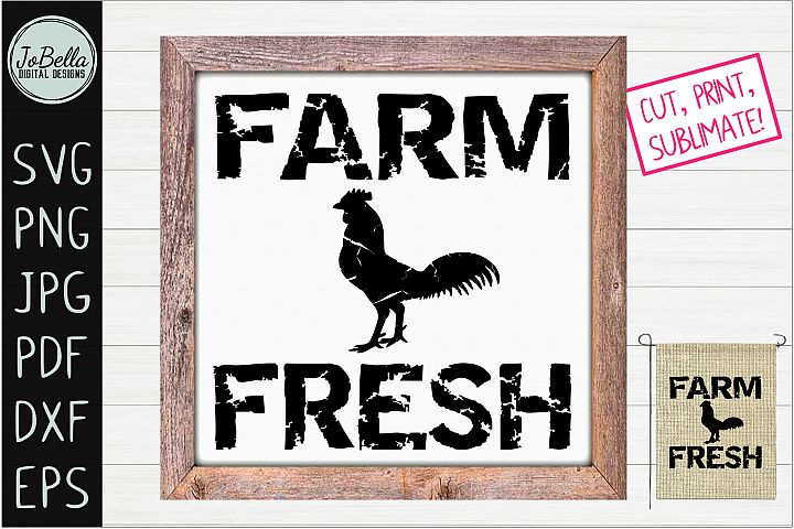Rooster Farmhouse SVG, Printable & Sublimation PNG