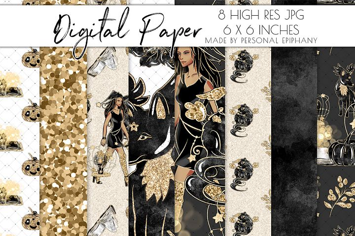 halloween digital papers, witch pattern, black gold glitter