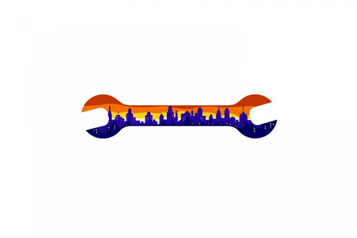 Wrench With Cityscape Buildings Silhouette Retro