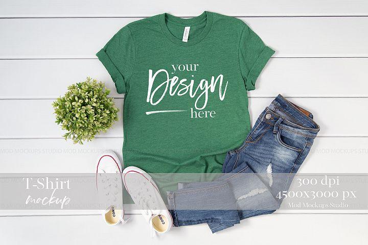 T-Shirt Mock up Heather Grass Green 3001 Bella Canvas Mockup