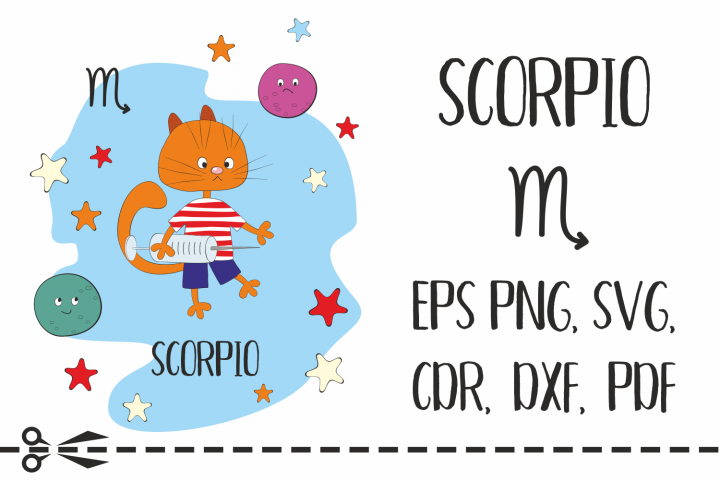 Scorpio. Zodiac sign with funny cat