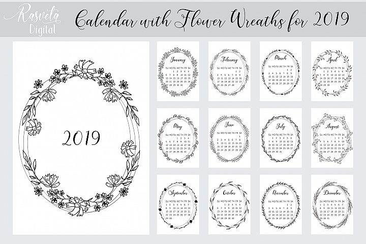 Desk calendar 2019 PRINTABLE A4, Botanical Floral Sketch