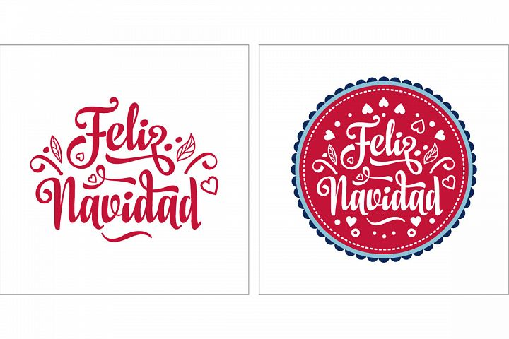 Merry Christmas. Feliz navidad. Lettering composition with phrase in Spanish language.