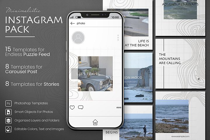 Minimalistic Instagram Templates Pack. Post, Story, Carousel