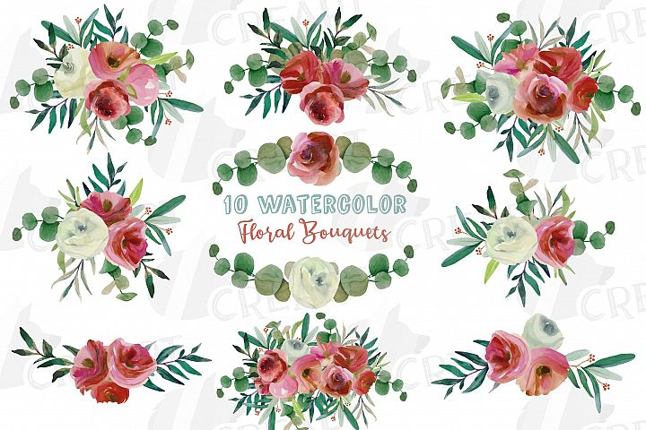 Floral blooming burgundy white pink watercolor bouquets