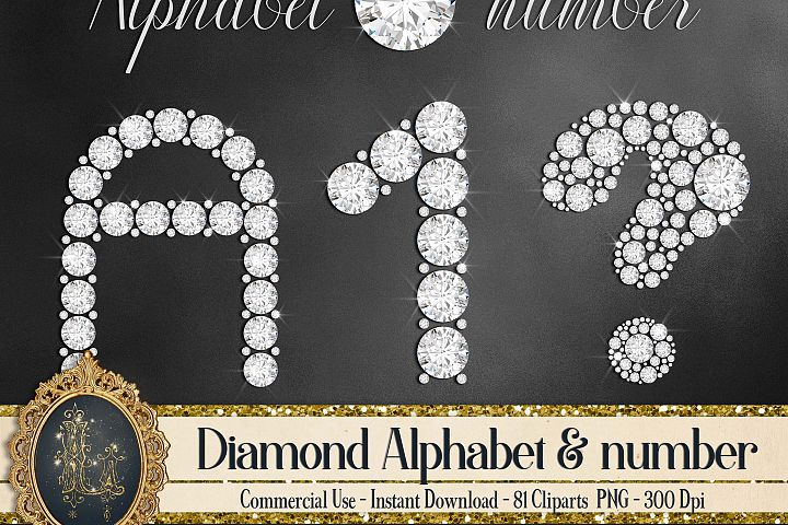 81 Diamond Alphabet, Number, Symbol Clip Arts Not a Font