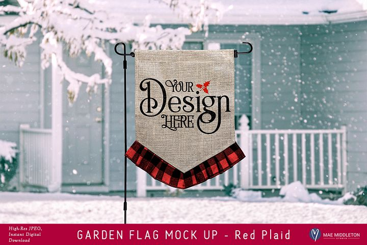 Garden Flag mock up for winter, Christmas, Red Plaid