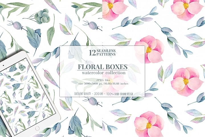 12 seamless patterns, Floral boxes watercolor col. example image 4