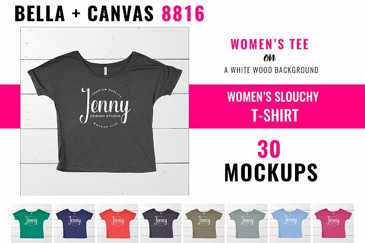 Bella Canvas 8816 Mockup Bundle, Womens Slouchy tee