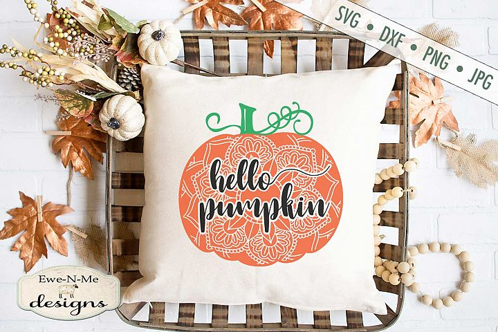 Hello Pumpkin - Mandala - Autumn Fall - SVG DXF Files