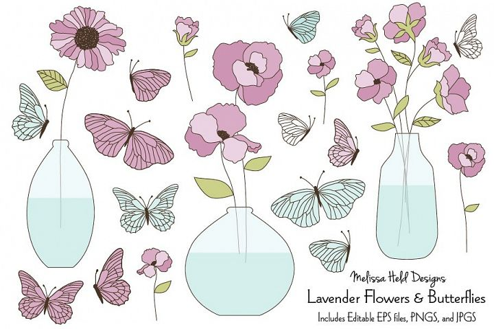 Lavender Flowers and Butterflies