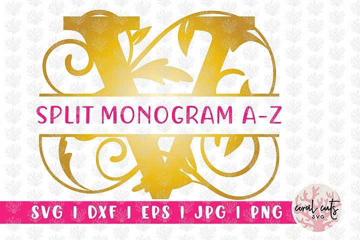 Decorative Floral Split Monogram A to Z - SVG EPS PNG JPG