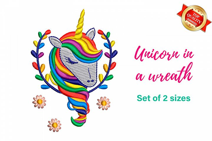 Unicorn in a flowers wreath - machine embroidery design