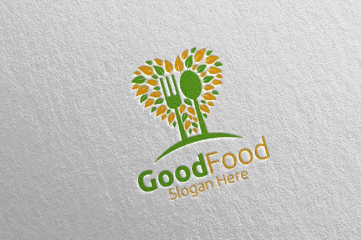 Healthy Food Logo Template for Restaurant or Cafe 37