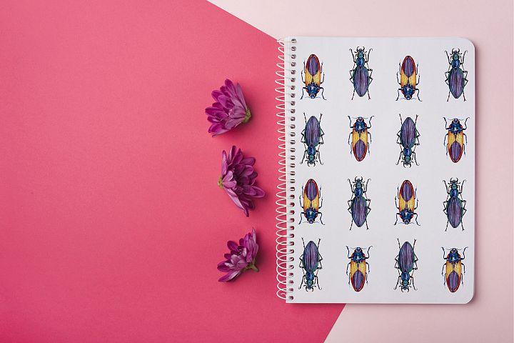 Beetles & Leaves. Watercolor set illustrations example image 12
