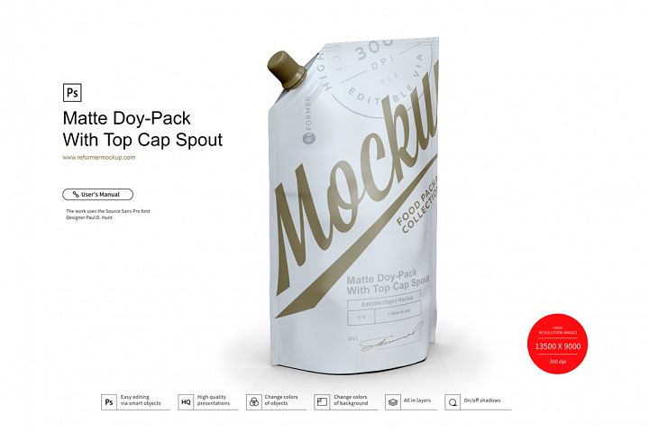Matte Doy-Pack With Top Cap Spout