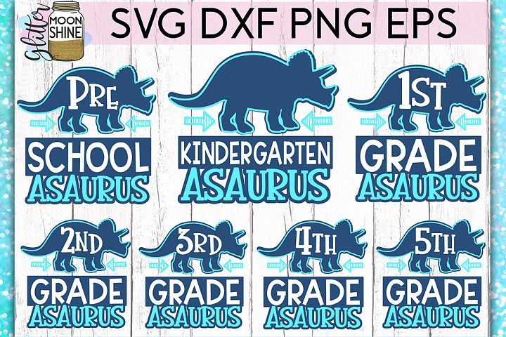 Schoolasaurus Bundle of 7 SVG DXF PNG EPS Cut Files