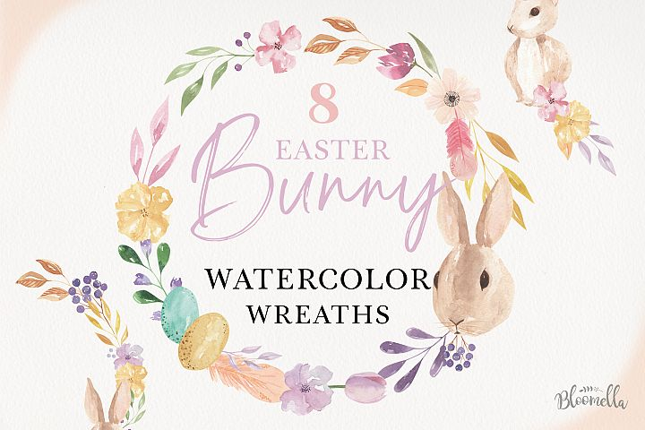Watercolor Easter Eggs Wreaths 8 Floral Garland Bunny Flower