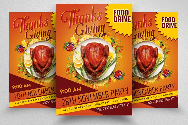 Thanks Giving Party Flyer Template