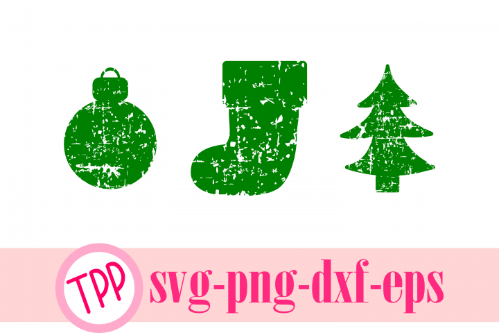 Grunge Christmas cut files Ornament, stocking, tree