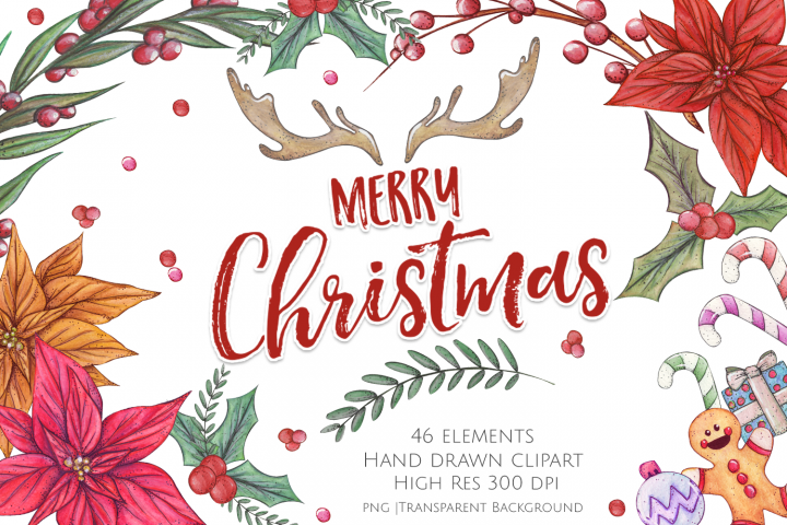 Watercolour Christmas Clipart and Graphics