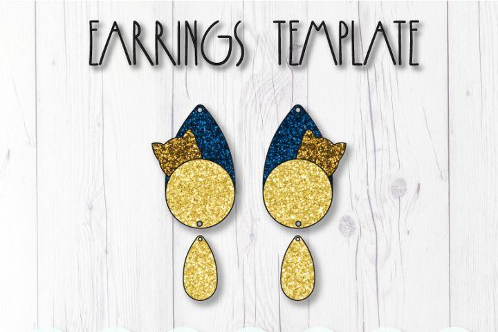Cat earrings template SVG, DIY earrings template