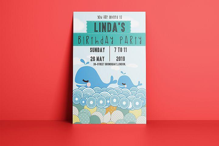 Kids Whale Birthday Invitation Card PSD