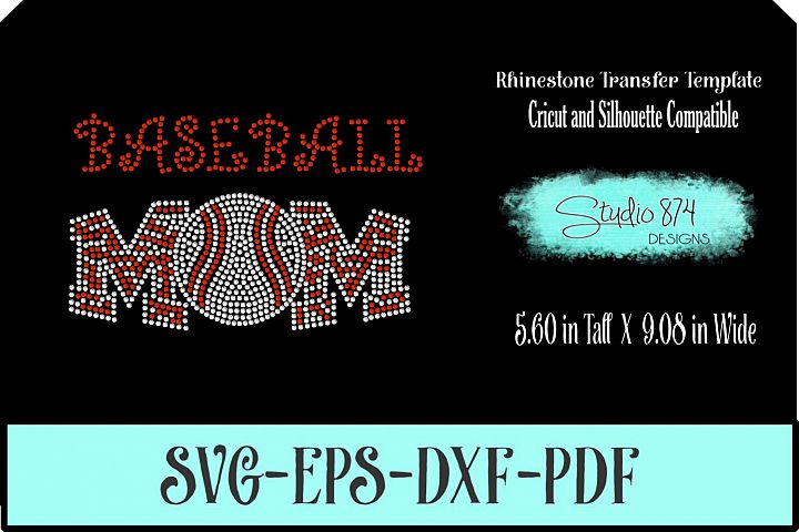Baseball Mom Rhinestone SVG Template R4