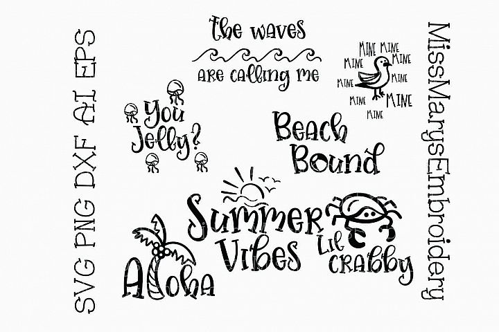 Summer Beach Sayings Bundle SVG Cutting File PNG DXF AI EPS