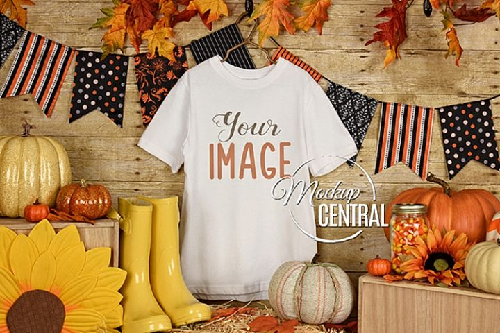 Blank White Halloween T-Shirt Apparel Fall Shirt Mockup JPG
