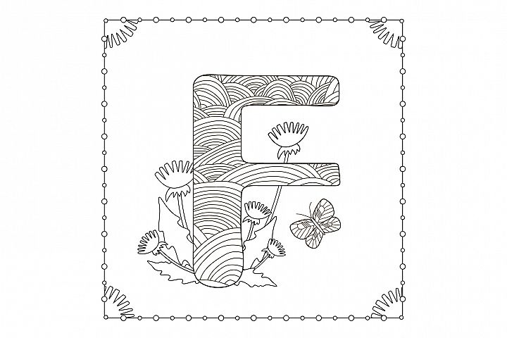 Letter F. Flowers. Coloring page.