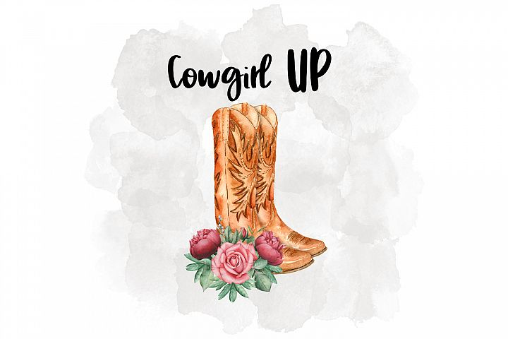 Cowgirl Up Watercolor illustration