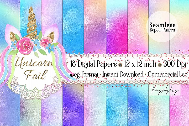 18 Seamless Fairy Tale Unicorn Mermaid Foil Digital Papers
