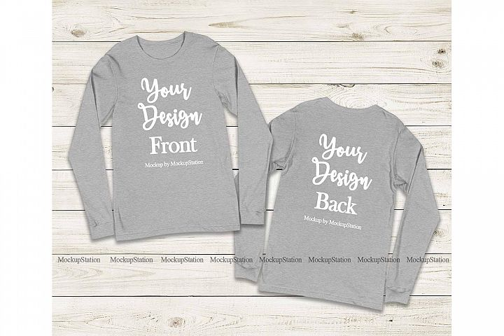 Front & Back Bella Canvas 3501 Athletic Heather Long Sleeve