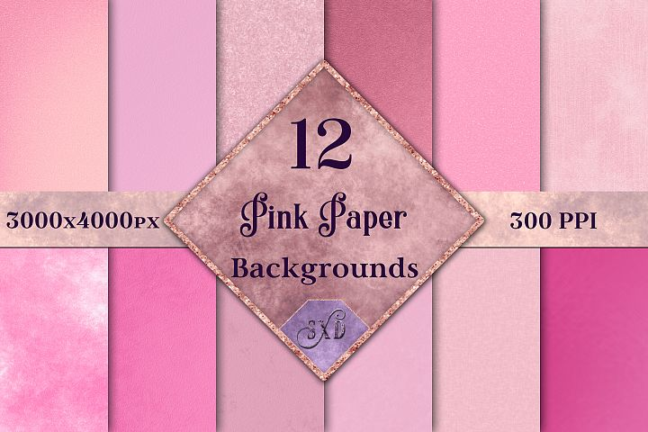 Pink Paper Backgrounds - 12 Image Set