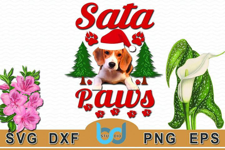 Santa Paws Quotes SVG Tshirt Design.