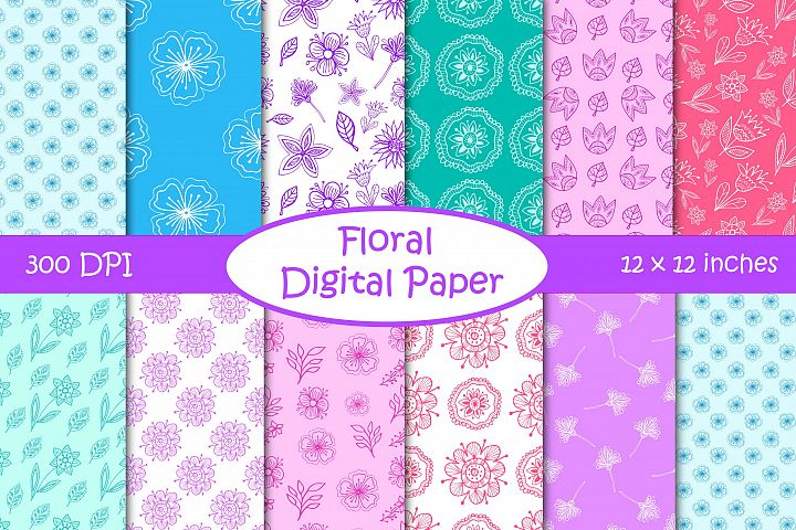 Floral Digital Paper Pack - Flowers and Leaves Patterns