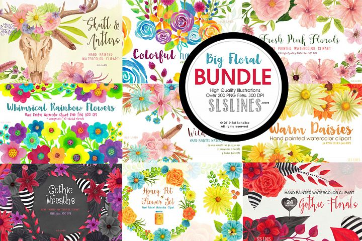 Big Watercolor Floral Bundle