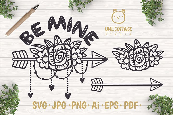 Valentine Arrow svg , Arrow with floral decor Svg, Valentine