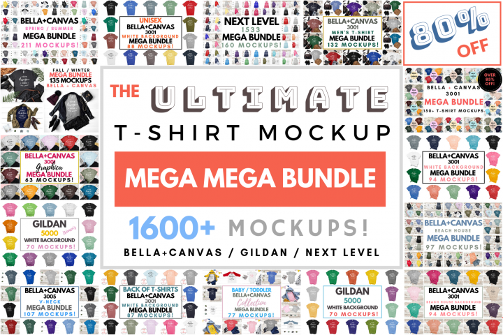 Ultimate TShirt Mockup Bundle Bella Canvas Gildan Next Level