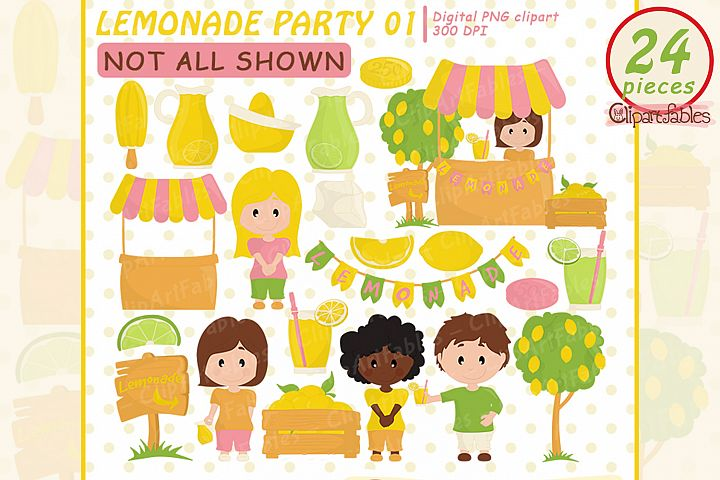 Lemonade clipart, Lemonade Stand clip art, pink lemonade art